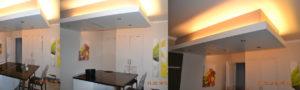Eclairage en pourtour LED d'un faux plafond pour îlot cuisine